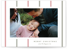 This is a green photo christmas card by Carolyn MacLaren called Classic Stripes with standard printing on smooth signature in standard.