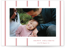 This is a red photo christmas card by Carolyn MacLaren called Classic Stripes with standard printing on smooth signature in standard.