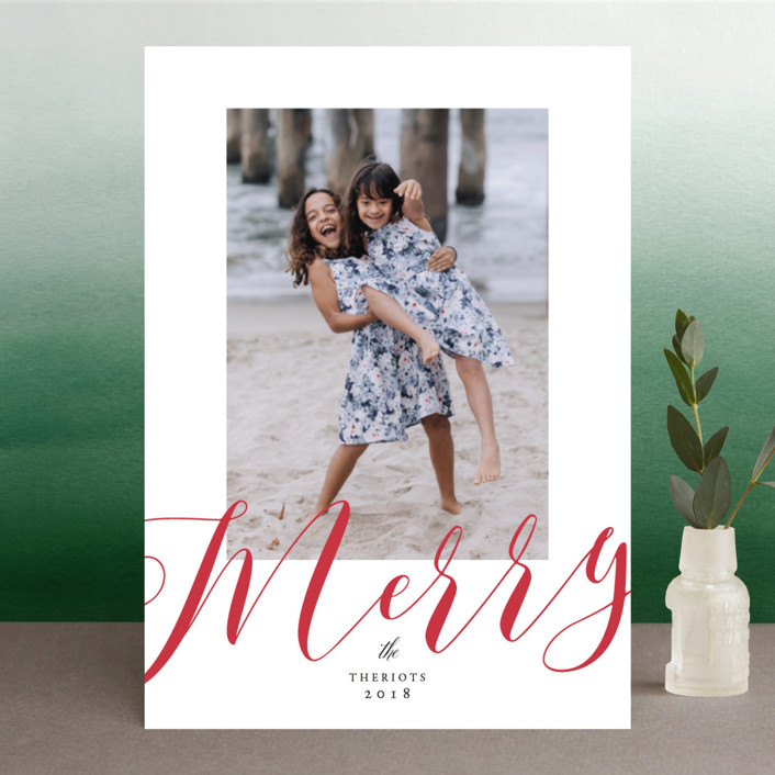 """""""We are so Merry"""" - Christmas Photo Cards in Poinsettia by Benita Crandall."""