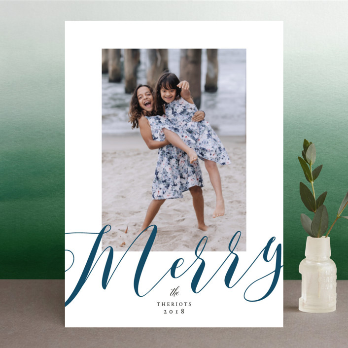 """We are so Merry"" - Christmas Photo Cards in Navy by Benita Crandall."