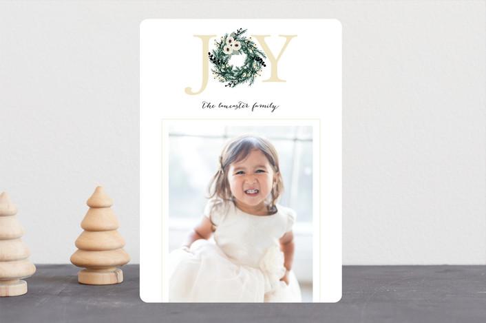 """Joyful Evergreen Wreath"" - Editor's Picks Christmas Photo Cards in Cream by Paula Pecevich."
