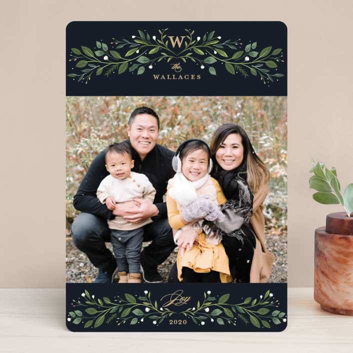 """""""Leafy Monogram"""" - Christmas Photo Cards in Navy by Susan Moyal."""
