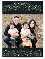 Leafy Monogram Christmas Photo Cards By Susan Moyal