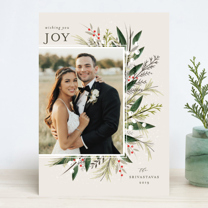 """Flourish"" - Christmas Photo Cards in Ecru by Melanie Kosuge."