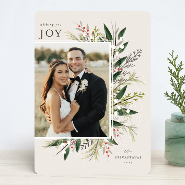 """Flourish"" - Christmas Photo Cards in Evergreen by Melanie Kosuge."