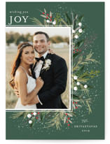 This is a green photo christmas card by Melanie Kosuge called Flourish with standard printing on smooth signature in standard.