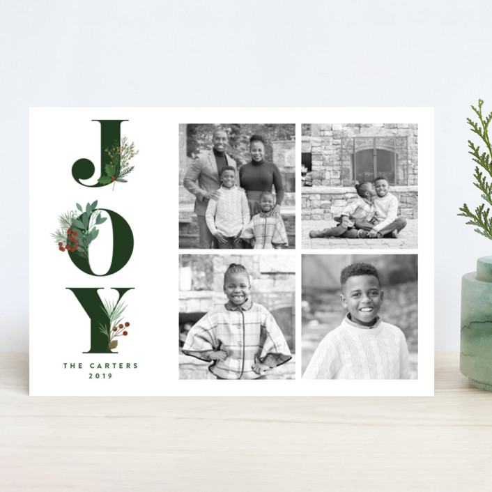 """""""Joy Greenery"""" - Christmas Photo Cards in Emerald by curiouszhi design."""
