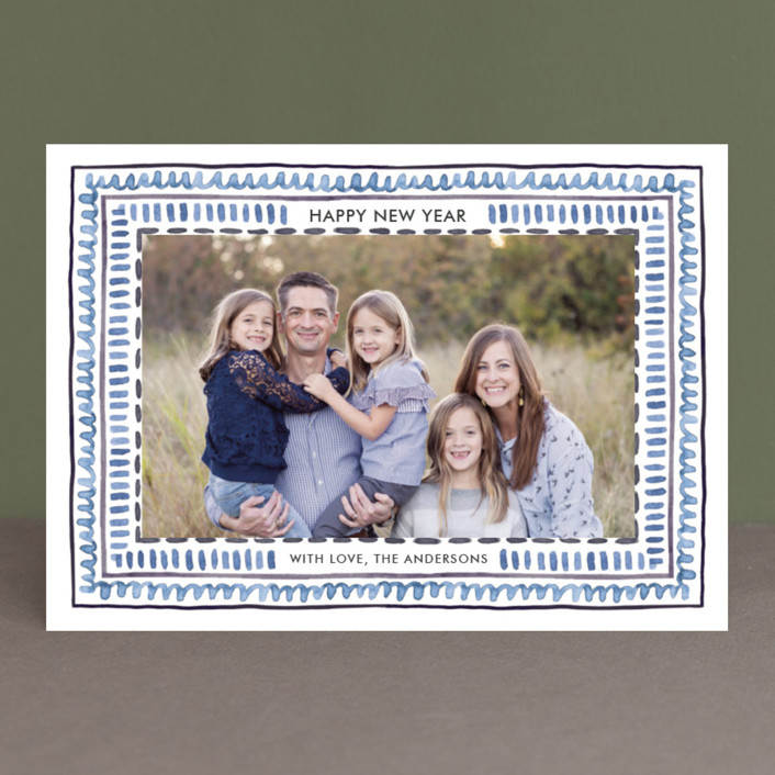 """""""Watercolor Framed"""" - Bohemian Christmas Photo Cards in Celestial by Luz Alliati."""