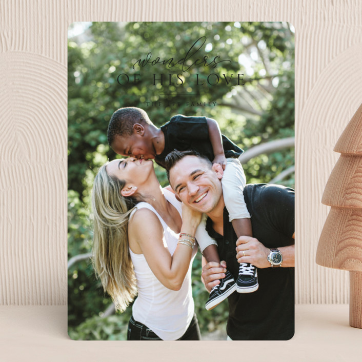 """""""wonder love"""" - Christmas Photo Cards in Onyx by Erin Deegan."""