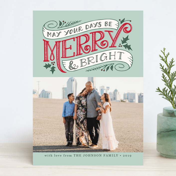"""Merry and Bright Topper"" - Vintage Christmas Photo Cards in Wintermint by Jamie Schultz Designs."