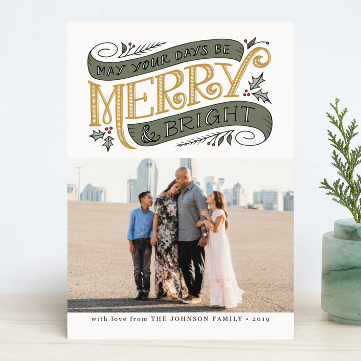 """""""Merry and Bright Topper"""" - Vintage Christmas Photo Cards in Wintermint by Jamie Schultz Designs."""