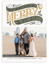 This is a yellow photo christmas card by Jamie Schultz Designs called Merry and Bright Topper with standard printing on smooth signature in standard.