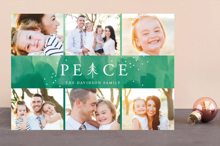 """""""Peace Tree"""" - Bohemian Christmas Photo Cards in Evergreen by Shirley Lin Schneider."""