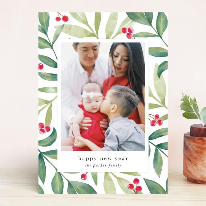 """Holiday Greenery"" - Christmas Photo Cards in Holly Berry by Jana Volfova."