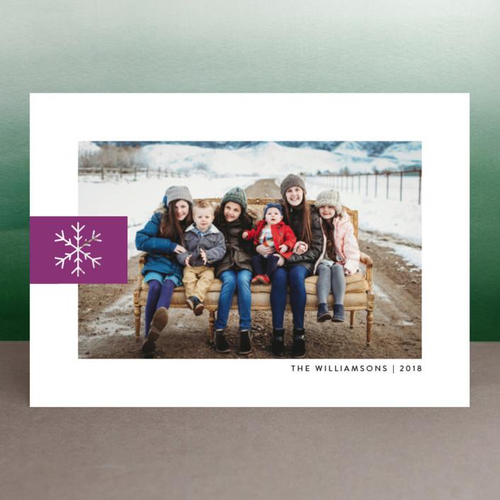 """Snowflake Tab"" - Christmas Photo Cards in Poinsettia by Ellis."