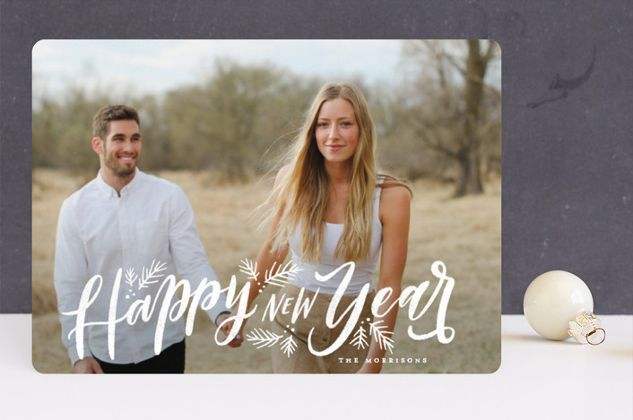 """Celebrate the Holiday Season"" - Bohemian Christmas Photo Cards in Snow by Wildfield Paper Co.."