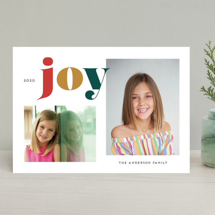"""""""Christmas Time Joy"""" - Christmas Photo Cards in Christmas Tree by Little Print Design."""
