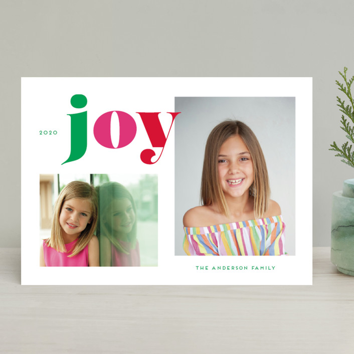 """""""Christmas Time Joy"""" - Christmas Photo Cards in Gumdrop by Little Print Design."""