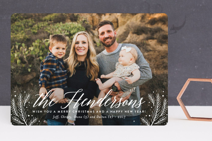 """""""Scripted Name"""" - Christmas Photo Cards in Snowflake by Jill Means."""