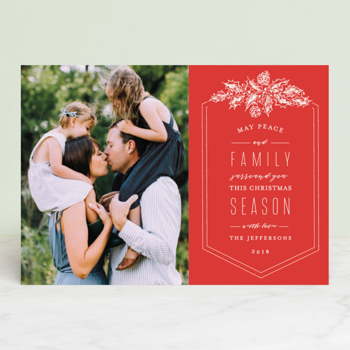 """""""Peace and Family"""" - Vintage Christmas Photo Cards in Taupe by Chris Griffith."""