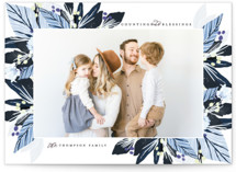 This is a blue photo christmas card by Grace Kreinbrink called Modern Foliage Corners with standard printing on smooth signature in standard.