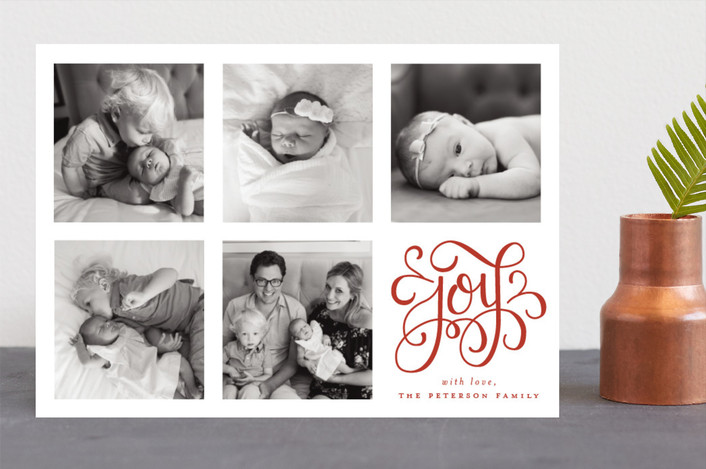 """Curly Joy"" - Christmas Photo Cards in Scarlet by Little Words Design."