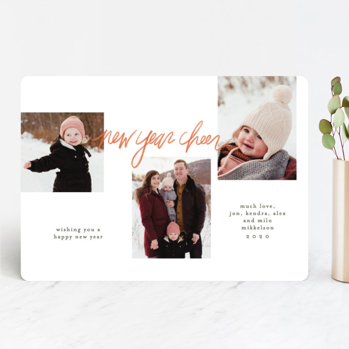 """""""Holly Jolly Handwritten"""" - Modern Christmas Photo Cards in Spice by Krissy Bengtson."""