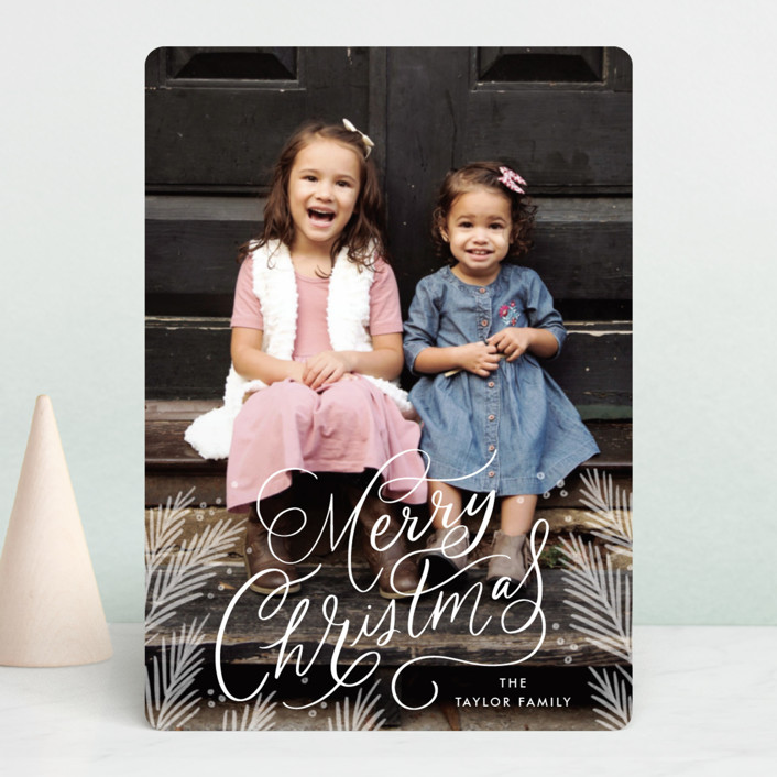 """""""Scripted Pines"""" - Christmas Photo Cards in Snowfall by Alethea and Ruth."""
