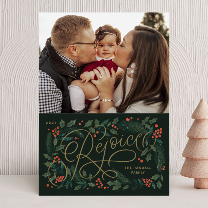 """""""Rejoice Pines"""" - Christmas Photo Cards in Peach by Kristen Smith."""