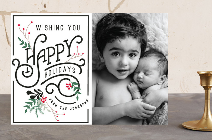 """""""Fancy Holidays"""" - Flora & Fauna, Elegant Christmas Photo Cards in classic black by Hannah Williams."""