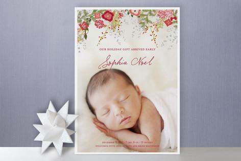Fleurs De Noel Christmas Photo Cards