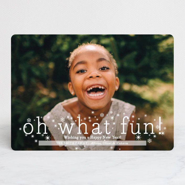 """""""Oh What Fun"""" - Christmas Photo Cards in Snowflake by Abby Munn."""