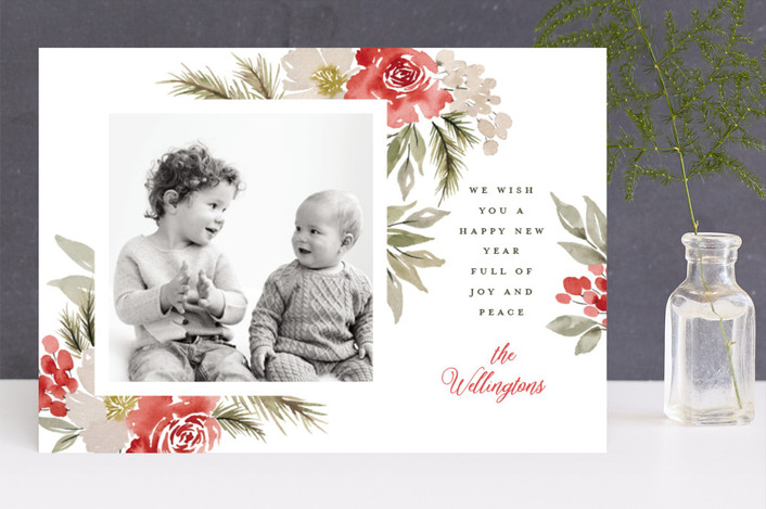 """""""Every Good + Perfect Gift"""" - Christmas Photo Cards in Poinsettia by Wildfield Paper Co.."""