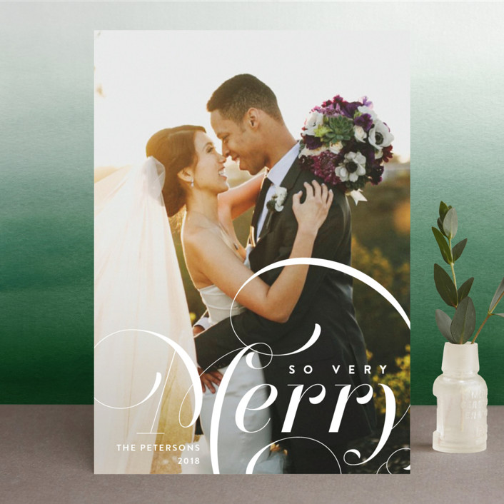 """""""Very Merry"""" - Christmas Photo Cards in Snowball by Amy Payne."""