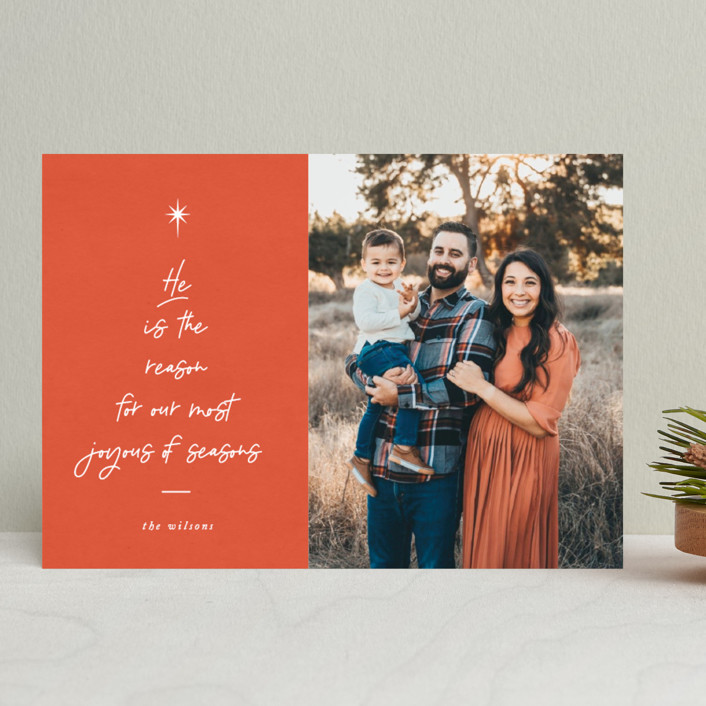 """""""He is the Reason"""" - Modern Christmas Photo Cards in Tangerine by Catherine Culvenor."""