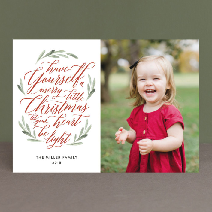 """Scripted Christmas"" - Christmas Photo Cards in Berry by Jennifer Postorino."