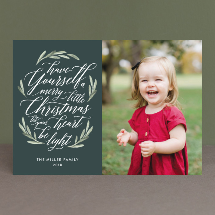 """""""Scripted Christmas"""" - Christmas Photo Cards in Berry by Jennifer Postorino."""