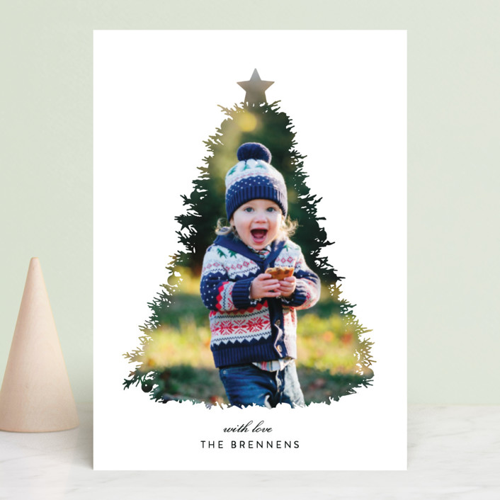 """A Christmas Tale"" - Modern, Bohemian Christmas Photo Cards in Coal by Christie Kelly."