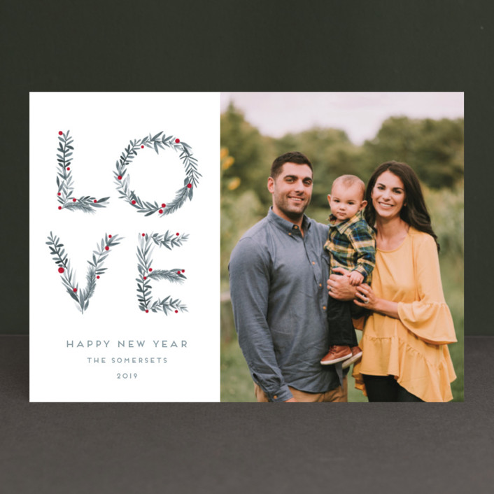 """Greenery Love"" - Christmas Photo Cards in Coal by Petra Kern."