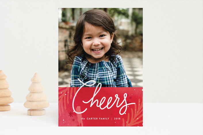 """paint splattered peace"" - Bohemian Christmas Photo Cards in Crimson by Jennifer Wick."