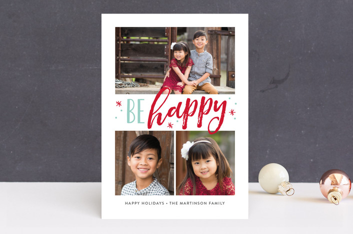 """Jolly Stars"" - Modern Christmas Photo Cards in Red Berry by Jessica Williams."