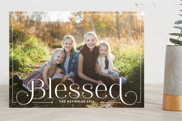 """""""Simply Blessed"""" - Bold typographic, Elegant Christmas Photo Cards in Snow by Alston Wise."""