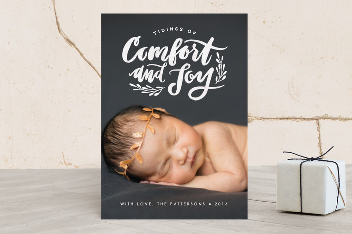 """Comfort and Joy"" - Full-Bleed Photo, Hand Drawn Christmas Photo Cards in White by Itsy Belle Studio."