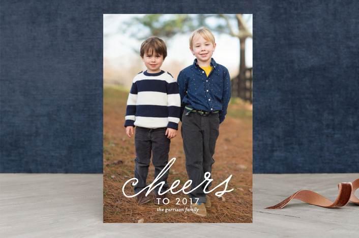 """Merry Swoosh"" - Bold typographic, Full-Bleed Photo Christmas Photo Cards in Pure White by Olivia Raufman."