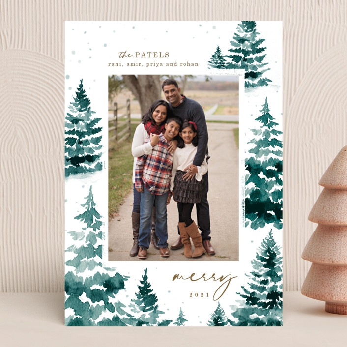 """""""in the snowy woods"""" - Christmas Photo Cards in Blue Spruce by Helen Halik."""