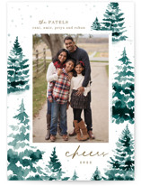 This is a blue photo christmas card by Helen Halik called in the snowy woods with standard printing on smooth signature in standard.