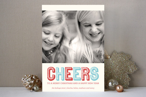 Stripe Type Christmas Photo Cards