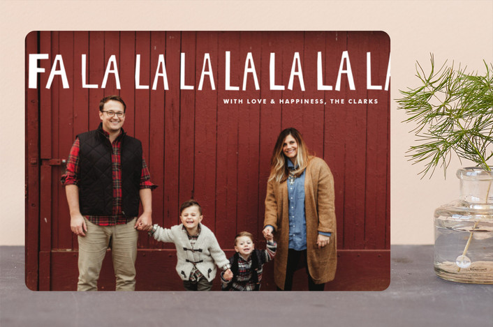 """Hand-Lettered Fa La La La La"" - Modern Christmas Photo Cards in Snow by Dean Street."