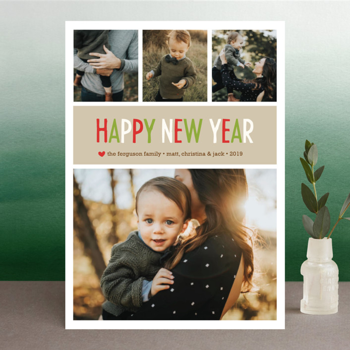 """Making Spirits Bright"" - Christmas Photo Cards in Cranberry by annie clark."
