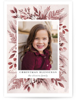 This is a red photo christmas card by Susan Moyal called Blessings Forever with standard printing on smooth signature in standard.
